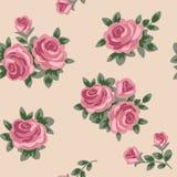 Fond sans couture avec les roses roses dans le rétro style Photo stock