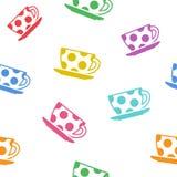 Fond sans couture avec les tasses colorées Vecteur illustration libre de droits