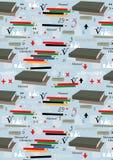 Fond sans couture bleu avec des fournitures scolaires Image stock
