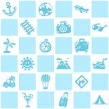 Fond sans couture bleu de thème de modèle de voyage/vacances illustration de vecteur
