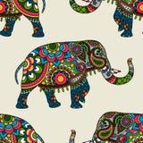 Fond sans couture coloré ethnique d'éléphant d'Asie Photographie stock libre de droits
