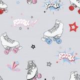Fond sans couture comique de modèle de patins de rouleau de vecteur illustration stock
