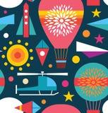 Fond sans couture décoratif de modèle de ciel avec le ballon à air, hélicoptère, cerf-volant, fusée de ciel d'avion Photos stock