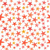 Fond sans couture d'été coloré d'étoiles de mer Photographie stock libre de droits