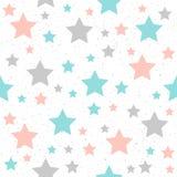 Fond sans couture d'étoile doucement en pastel Étoile grise, rose et bleue illustration stock