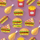 Fond sans couture d'aliments de préparation rapide de modèle de style plat Photo stock