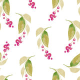 Fond sans couture d'aquarelle se composant des fleurs sèches Images libres de droits