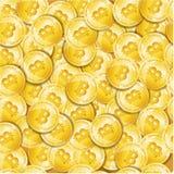 Fond sans couture d'or détaillé réaliste de modèle de 3d Bitcoin Vecteur Images stock