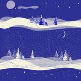 Fond sans couture d'hiver avec la lune Photo libre de droits