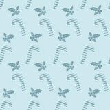 Fond sans couture d'icônes de Noël avec la baie de houx Les vacances d'hiver heureuses Wallpaper avec des éléments de nature illustration stock