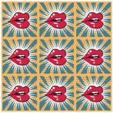 Fond sans couture d'impression de lèvres de rétro fond Photos stock