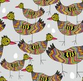 Fond sans couture d'oiseaux et d'oeufs Photographie stock libre de droits