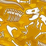 Fond sans couture d'os de dinosaure Modèle de squelette d'ancie Image libre de droits