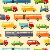 Fond sans couture de bébé avec de rétros icônes colorées de voiture Image libre de droits