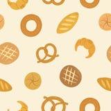 Fond sans couture de boulangerie tirée par la main de bande dessinée Photographie stock