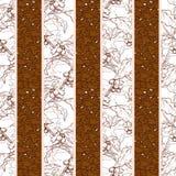 Fond sans couture de café avec la branche et les haricots Illustration tirée par la main dans le style de croquis illustration stock