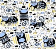 Fond sans couture de chats drôles illustration de vecteur