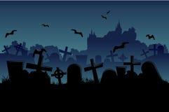 Fond sans couture de cimetière de nuit Images libres de droits
