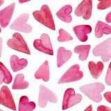 Fond sans couture de coeurs d'aquarelle Modèle rose de coeur d'aquarelle illustration stock