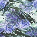 Fond sans couture de cru d'aquarelle avec un modèle floral, une branche d'une fleur rose, feuilles, lavande, fleur sauvage photos stock