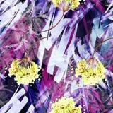 Fond sans couture de cru d'aquarelle avec un modèle floral, une branche d'une fleur rose, feuilles, lavande, fleur sauvage photographie stock libre de droits