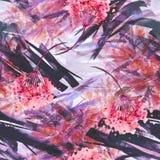 Fond sans couture de cru d'aquarelle avec un modèle floral, une branche d'une fleur rose, feuilles, lavande, fleur sauvage photos libres de droits