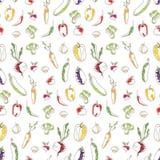 Fond sans couture de cuisine des légumes Photos stock