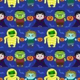 Fond sans couture de Halloween avec des enfants dans le costume de Halloween illustration libre de droits