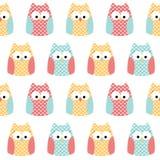 Fond sans couture de hiboux Images stock