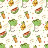 Fond sans couture de kawaii de fruits et légumes de bande dessinée illustration stock