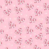 Fond sans couture de mariage de couleur rose avec des coeurs dans les rayures blanches Images libres de droits