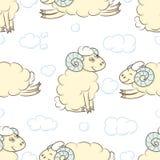 Fond sans couture de modèle avec des moutons Photos libres de droits