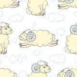 Fond sans couture de modèle avec les moutons mignons Photo stock