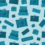Fond sans couture de modèle de bagage bleu de vecteur illustration stock