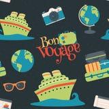 Fond sans couture de modèle de Bon Voyage Cruise Travel Navy de vecteur illustration libre de droits