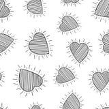 Fond sans couture de modèle de coeurs tirés par la main Vec plat d'affaires Image stock