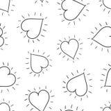 Fond sans couture de modèle de coeurs tirés par la main Vec plat d'affaires Photos libres de droits
