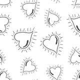 Fond sans couture de modèle de coeurs tirés par la main Vec plat d'affaires Image libre de droits
