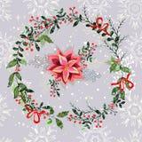 Fond sans couture de modèle d'éléments de Noël de vintage Image stock