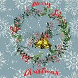 Fond sans couture de modèle d'éléments de Noël de vintage Image libre de droits