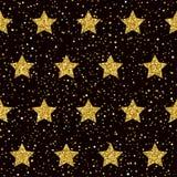 Fond sans couture de modèle d'étoile Texture d'or de scintillement d'étincelle illustration libre de droits