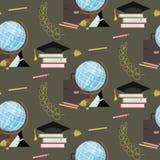 Fond sans couture de modèle d'accessoires éducatifs de fournitures de bureau d'école ou illustration libre de droits