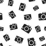 Fond sans couture de modèle d'appareil-photo Vecteur plat d'affaires illustration stock