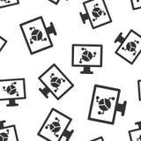 Fond sans couture de modèle d'icône analytique de moniteur Illustration de vecteur de diagramme sur le fond d'isolement blanc r illustration libre de droits