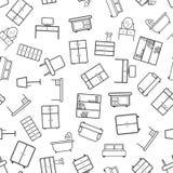 Fond sans couture de modèle d'icône de meubles Vecteur plat d'affaires Image libre de droits