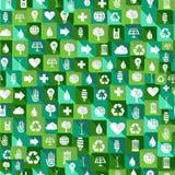Fond sans couture de modèle d'icônes vertes d'environnement Images libres de droits