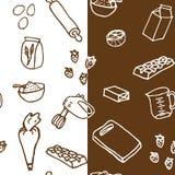 Modèle sans couture d'ingrédient de gâteau d'anniversaire illustration stock