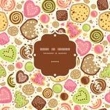Fond sans couture de modèle de cadre coloré de biscuits illustration stock