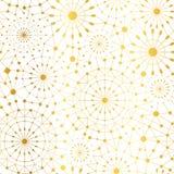 Fond sans couture de modèle de cercles métalliques abstraits blancs d'or de réseau de vecteur Grand pour le tissu élégant de text Photos libres de droits