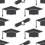 Fond sans couture de modèle de chapeau et de diplôme d'obtention du diplôme Images stock